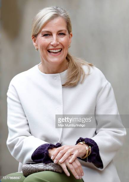 Sophie, Countess of Wessex visits Vauxhall City Farm on October 1, 2020 in London, England. Their Royal Highnesses visit is to see the farm's...