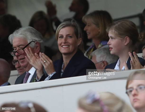 Sophie Countess of Wessex watches during Day Four of The Land Rover Burghley Horse Trials 2017 on September 2 2017 in Stamford England