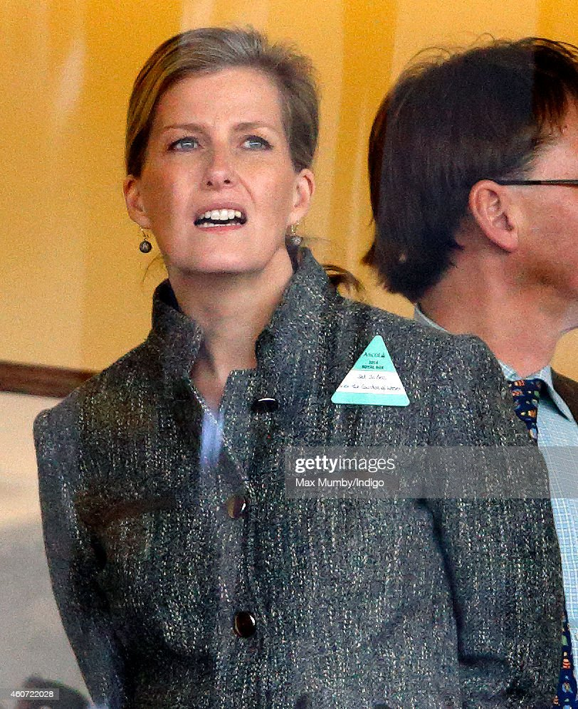 Sophie, Countess of Wessex watches the racing as she attends the Christmas Meeting at Ascot Racecourse on December 20, 2014 in Ascot, England.