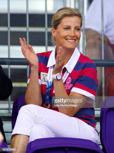 Sophie, Countess of Wessex watches the track cycling in the Sir Chris Hoy Velodrome on day one of 20th Commonwealth Games on July 24, 2014 in...