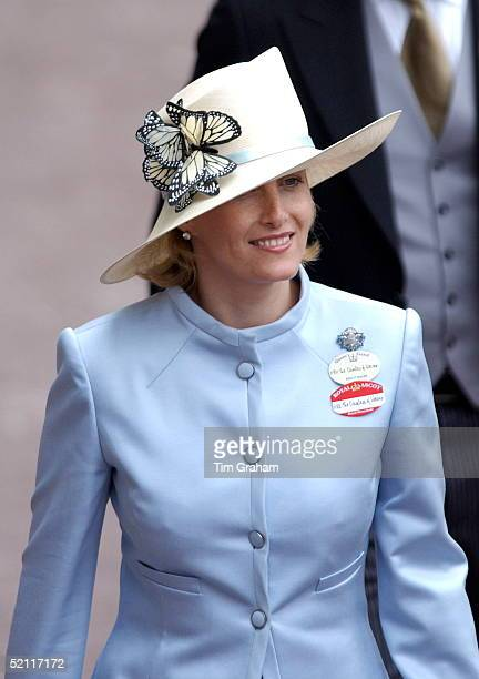 Sophie Countess Of Wessex Wearing A Pale Blue Suit And A Cream Hat Trimmed With Artificial Butterflies At Royal Ascot On Her Lapel Is A Sapphire And...