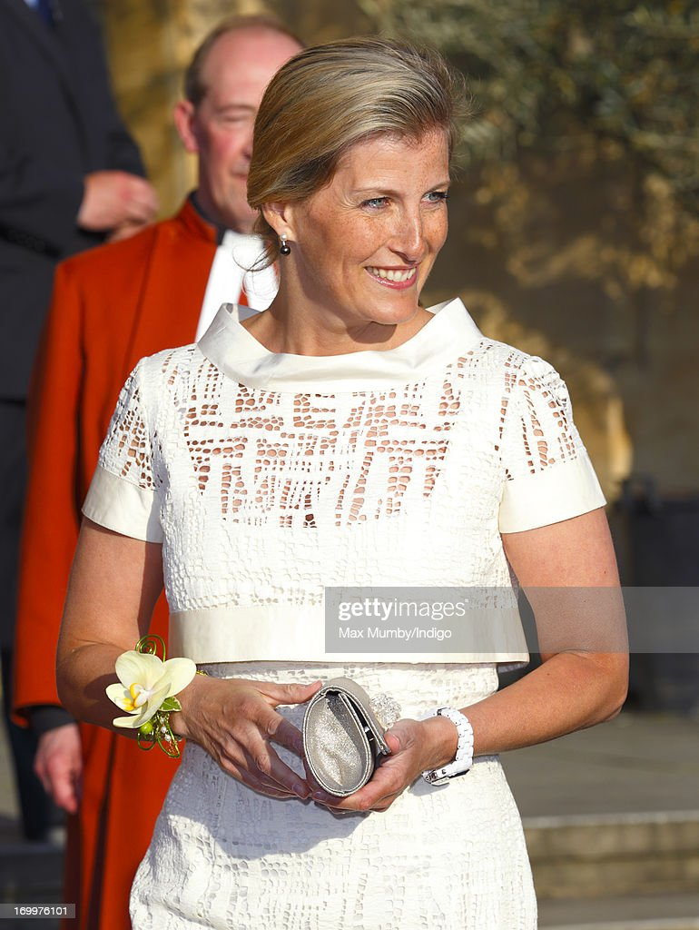 Sophie, Countess of Wessex wears a corsage which she was given whilst attending a reception for the Guildford Flower Festival at Guildford Cathedral during a day of engagements in Surrey on January 05, 2013 in Guildford, England.