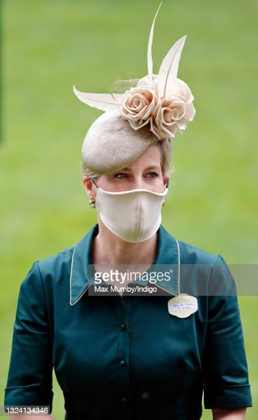 Sophie, Countess of Wessex wears a face mask as she attends day 3 of Royal Ascot at Ascot Racecourse on June 17, 2021 in Ascot, England.