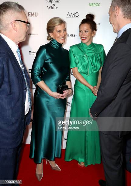 """Sophie, Countess of Wessex with Anna Friel as she attends the """"Sulphur and White"""" premiere at The Curzon Mayfair on February 27, 2020 in London,..."""