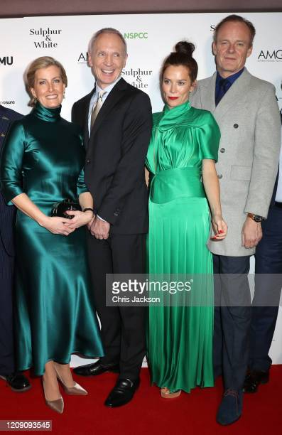 """Sophie, Countess of Wessex with David Tait, Anna Friel and Alistair Petrie attend the """"Sulphur and White"""" premiere at The Curzon Mayfair on February..."""