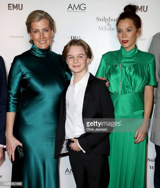 """Sophie, Countess of Wessex with Hugo Stone and Anna Friel as she attends the """"Sulphur and White"""" premiere at The Curzon Mayfair on February 27, 2020..."""