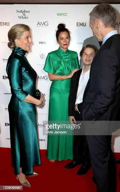 """Sophie, Countess of Wessex with Hugo Stone, Anna Friel and David Tait as she attends the """"Sulphur and White"""" premiere at The Curzon Mayfair on..."""