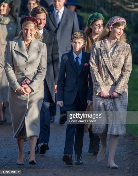 Sophie Countess of Wessex with James Viscount Severn and Lady Louise Windsor attend the Christmas Day Church service at Church of St Mary Magdalene...