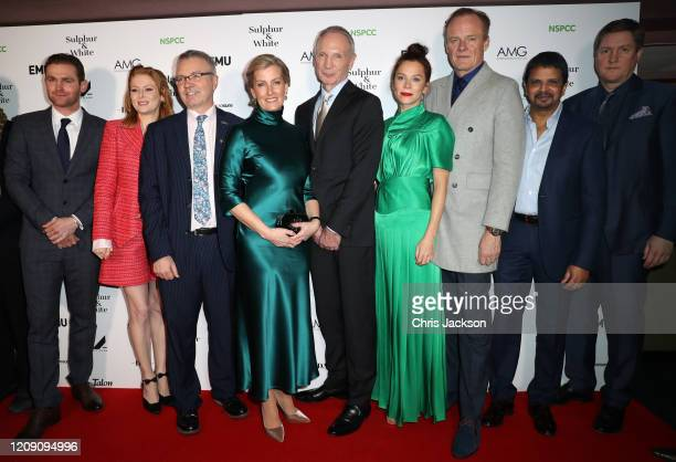 Sophie, Countess of Wessex with Mark Stanley, Emily Beecham, guest, David Tait, Anna Friel, Alistair Petrie, Alan Govinden and guest attend the...