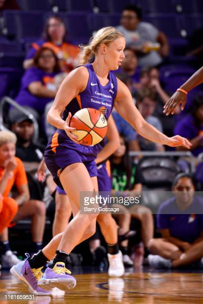 Sophie Cunningham of the Phoenix Mercury handles the ball against the Connecticut Sun on August 14 2019 at Talking Stick Resort Arena in Phoenix...