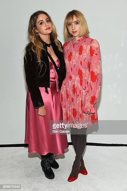 Sophie Curtis and actress Zoe Kazan backstage at the Jill Stuart fashion show during Fall 2016 New York Fashion Week at Industria Superstudio on...