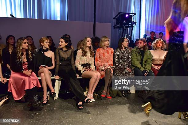 Sophie Curtis Katherine McNamara Julia Goldani Telles Bridget McGarry Zoe Kazan Jena Malone Ethan DeLorenzo and Willow Shields watche the Jill Stuart...