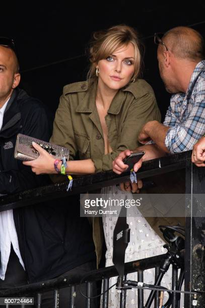Sophie Dahl watches Jamie Cullum perform on The Pyramid Stage on day 4 of the Glastonbury Festival 2017 at Worthy Farm Pilton on June 25 2017 in...