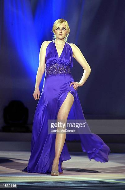 Sophie Dahl wears a Synan O'Mahony outfit during the Collins Cup fashion event at the RDS Simmonscourt in Dublin Ireland on December 4 2002