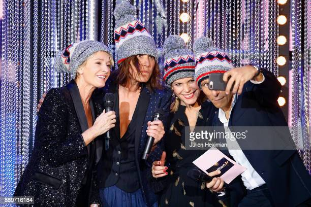 Sophie Davant Zazie guest and Nagui perform on stage during the 31st France Television Telethon at Pavillon Baltard on December 9 2017 in...