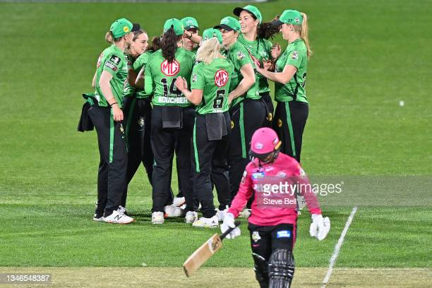 Sophie Day of the Stars celebrates taking the wicket of Alyssa Healy of the Sixers during the Women's Big Bash League match between the Sydney Sixers...