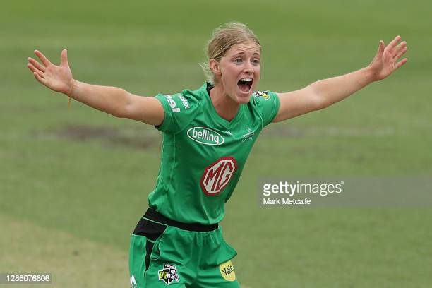 Sophie Day of the Stars celebrates taking the wicket of Nicole Bolton of the Scorchers during the Women's Big Bash League WBBL match between the...