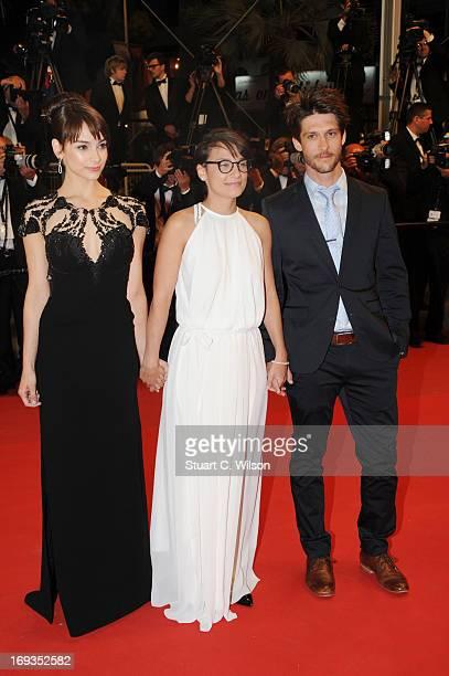 Sophie Desmarais director Chloe Robichaud and JeanSebastien Courchesne attend the 'Sarah Prefere La Course' premiere during The 66th Annual Cannes...
