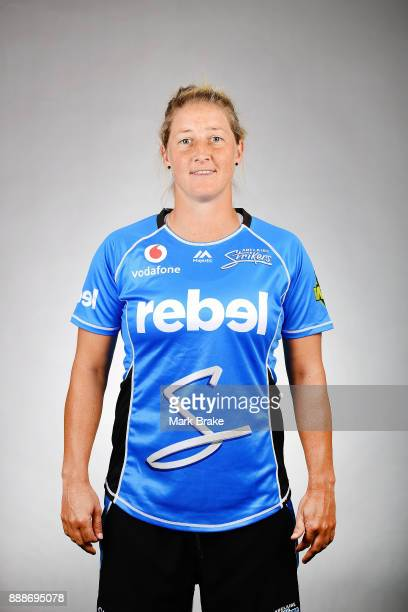 Sophie Devine 02 oses during the Adelaide Strikers WBBL headshots session on December 5 2017 in Adelaide Australia