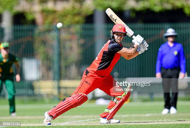 Sophie Devine cuts four on her way to 117 during the WNCL match between South Australia and Tasmania at Adelaide Oval No2 on October 8 2017 in...