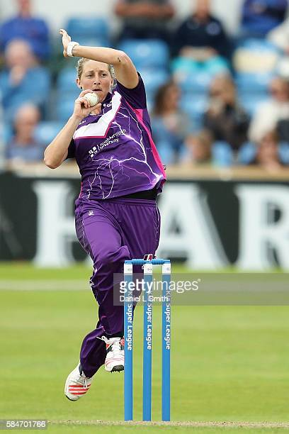 Sophie Devine of Loughborough bowls during the inaugural Kia Super League women's cricket match between Yorkshire Diamonds and Loughborough Lightning...