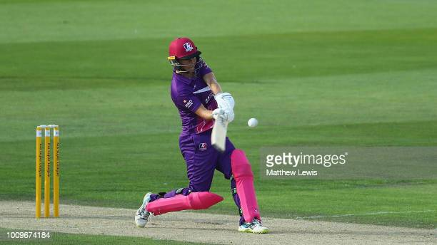 Sophie Devine of Loughborough Lightning hits a six during the Kia Super League match between Loughborough Lightning and Surrey Stars at Haslegrave...
