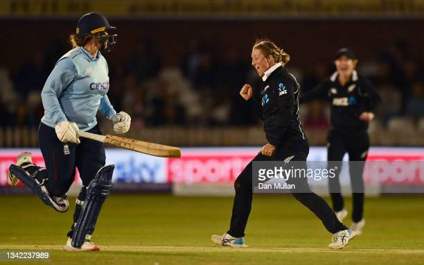 Sophie Devine of New Zealand appeals for the wicket of Danni Wyatt of England during the 4th One Day International match between England and New...