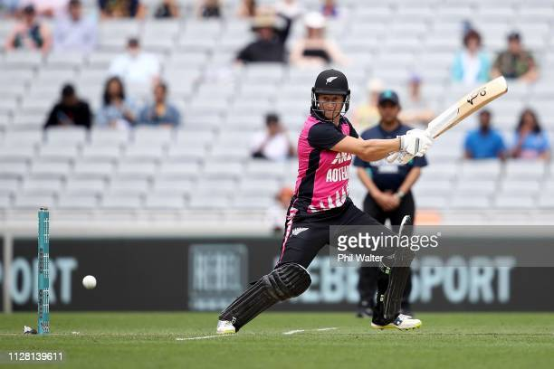 Sophie Devine of New Zealand bats during game two of the International T20 Series between the New Zealand White Ferns and India at Eden Park on...