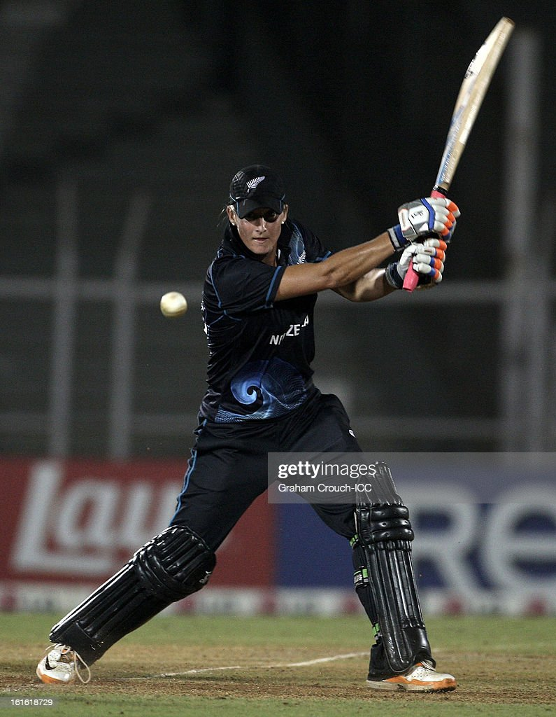 Sophie Devine of New Zealand bats during of the Super Sixes ICC Women's World Cup India 2013 match between New Zealand and England at the Cricket Club of India ground on February 13, 2013 in Mumbai, India.