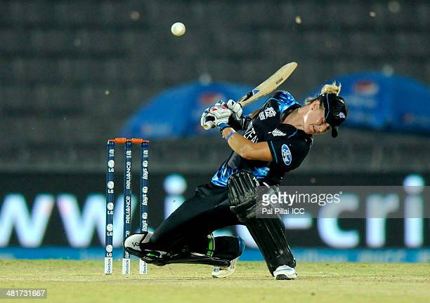 Sophie Devine of New Zealand bats during the ICC Women's World Twenty20 match between New Zealand Women and South Africa Women at Sylhet...