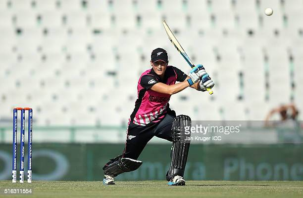 Sophie Devine of New Zealand bats during the Women's ICC World Twenty20 India 2016 match between New Zealand and Ireland at the IS Bindra Stadium on...