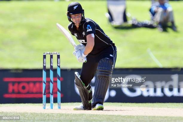 Sophie Devine of New Zealand bats during the Women's One Day International match between New Zealand and the West Indies on March 11 2018 in...