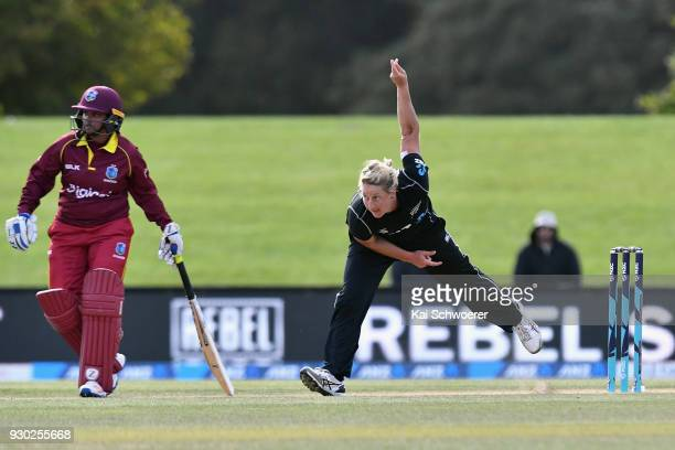 Sophie Devine of New Zealand bowls during the Women's One Day International match between New Zealand and the West Indies on March 11 2018 in...