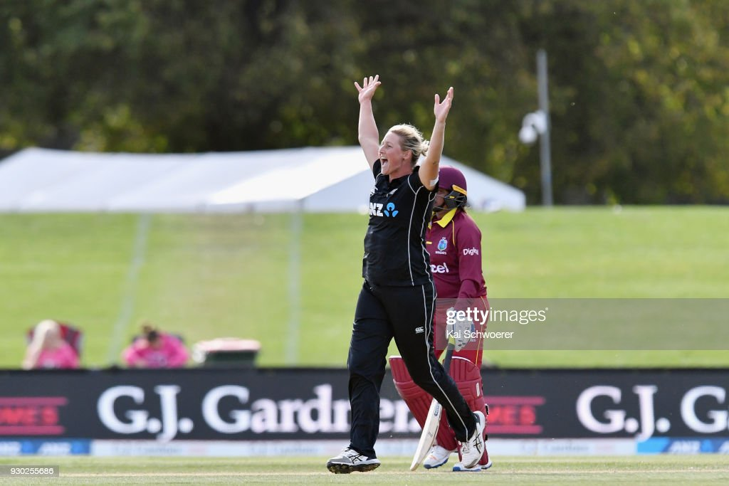 Sophie Devine of New Zealand celebrates after taking the final wicket during the Women's One Day International match between New Zealand and the West Indies on March 11, 2018 in Christchurch, New Zealand.