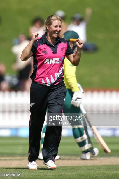 Sophie Devine of New Zealand celebrates after taking the wicket of Laura Wolvaardt of South Africa during the third International Women's T20 Series...