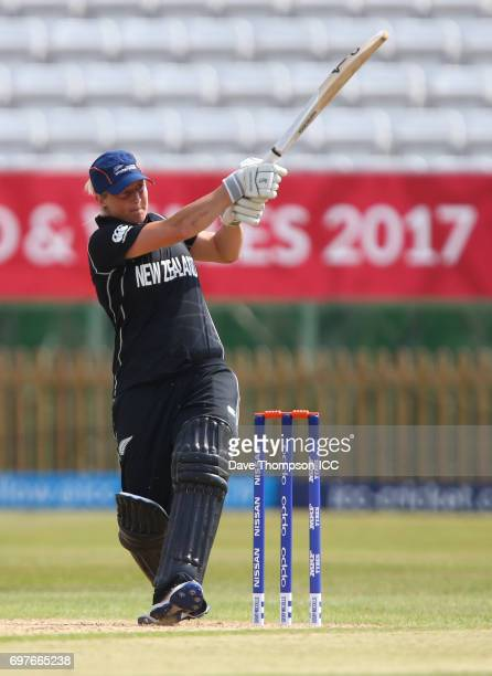 Sophie Devine of New Zealand hits a six to win the match during the ICC Women's World Cup warm up match between India and New Zealand at The County...