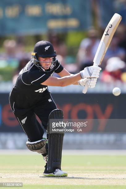 Sophie Devine of New Zealand plays a stroke up the wicket during game three of the One Day International Series between Australia and New Zealand at...