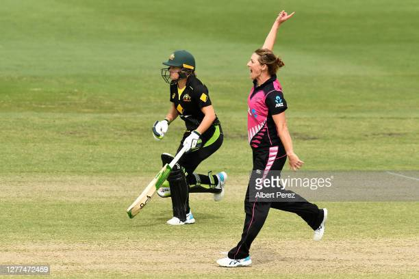 Sophie Devine of New Zealand successfully appeals for the wicket of Beth Mooney of Australia during game three of the T20 International series...