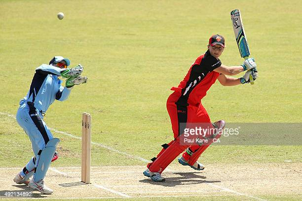 Sophie Devine of South Australia bats during the round one WNCL match between New South Wales and South Australia at WACA on October 10 2015 in Perth...