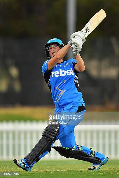 Sophie Devine of the Adelaide Strikers bats during the WBBL match between the Adelaide Strikers and the Hobart Hurricanes at Gliderol Stadium on...