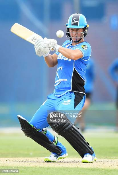 Sophie Devine of the Adelaide Strikers bats during the Women's Big Bash League match between the Adelaide Strikers and the Melbourne Renegades at...