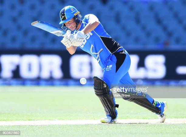 Sophie Devine of the Adelaide Strikers bats during the Women's Big Bash League match between the Adelaide Strikers and the Melbourne Stars at...
