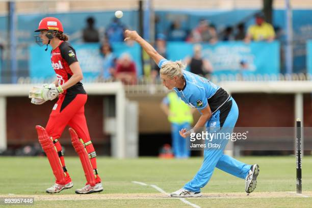Sophie Devine of the Adelaide Strikers bowls during the Women's Big Bash League match between the Adelaide Strikers and the Melbourne Renegades at...
