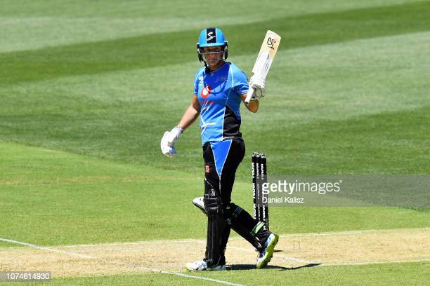 Sophie Devine of the Adelaide Strikers celebrates after reaching her half century during the Adelaide Strikers v Melbourne Stars Women's Big Bash...
