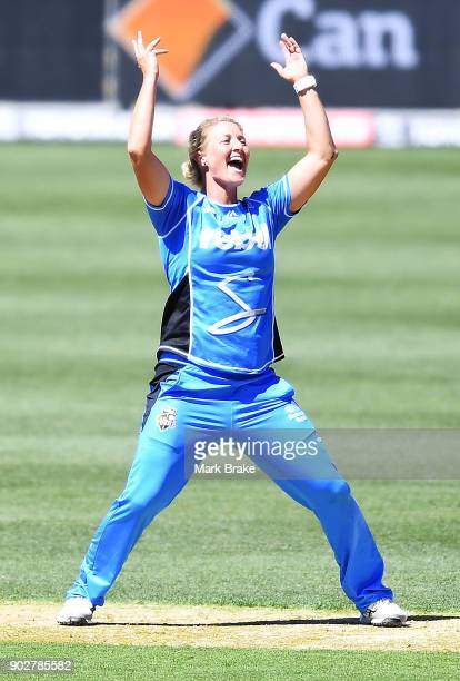 Sophie Devine of the Adelaide Strikers celebrates after taking the wicket of Erin Osborne of the Melbourne Stars during the Women's Big Bash League...