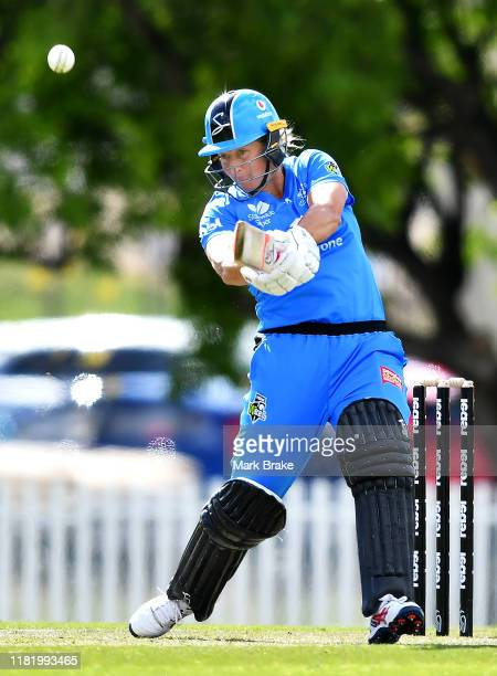Sophie Devine of the Adelaide Strikers hits a six during the Women's Big Bash League match between the Melbourne Renegades and the Adelaide Strikers...