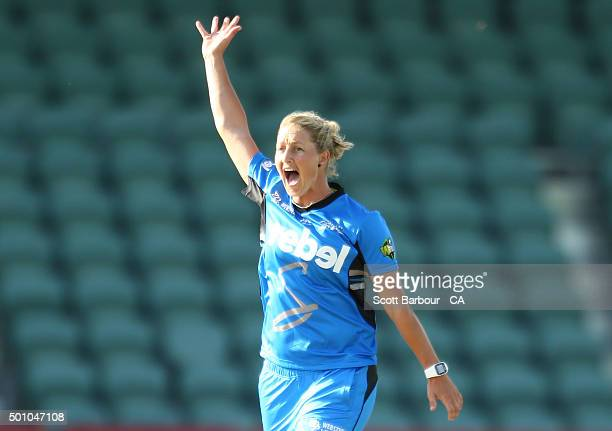 Sophie Devine of the Strikers appeals during the Women's Big Bash League match between the Hobart Hurricanes and Adelaide Strikers at Aurora Stadium...