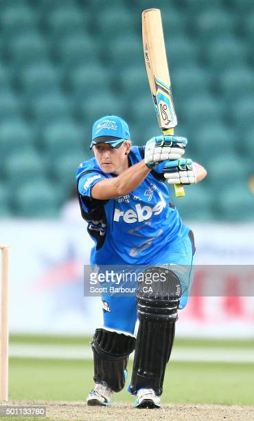 Sophie Devine of the Strikers bats during the Women's Big Bash League match between the Hobart Hurricanes and Adelaide Strikers at Aurora Stadium on...