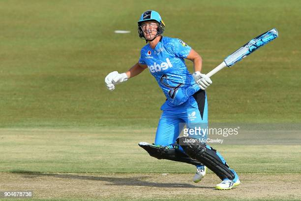 Sophie Devine of the Strikers bats during the Women's Big Bash League match between the Perth Scorchers and the Adelaide Strikers at Traeger Park on...