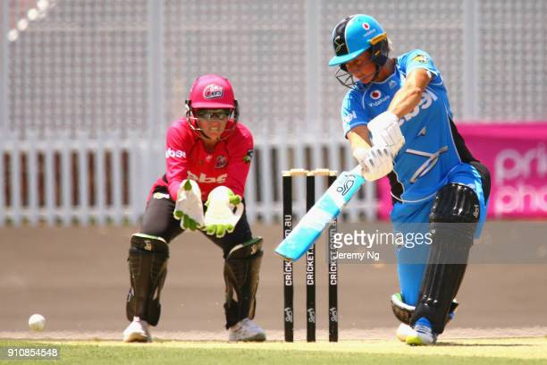 Sophie Devine of the Strikers bats during the Women's Big Bash League match between the Adelaide Strikers and the Sydney Sixers at Hurstville Oval on...